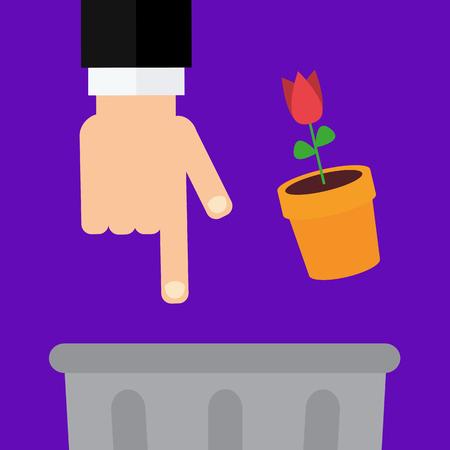 eco flowers basket: dont litter illustration