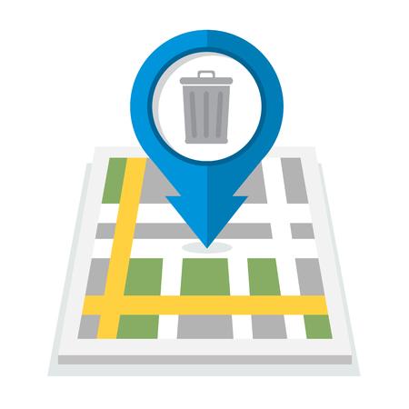 utilization: Trash can map icon Illustration