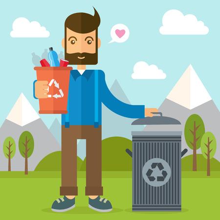 Man throwing garbage illustration