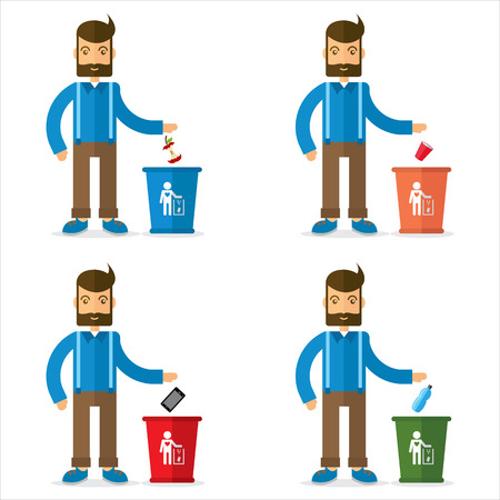 food waste: man and trash can icon