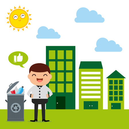 green living concept illustration Illustration