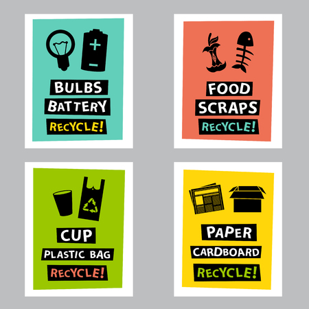 refuse: dont litter and recycle poster sets
