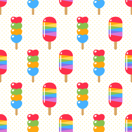 birthday party: ice cream and candy seamless Illustration