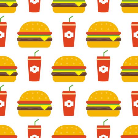 Junk food seamless Vector illustration. Çizim