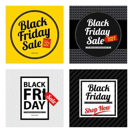 A black friday sale poster sets design illustration.