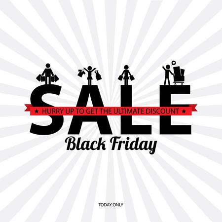 grand sale sticker: Black friday sale poster vector illustration. Illustration