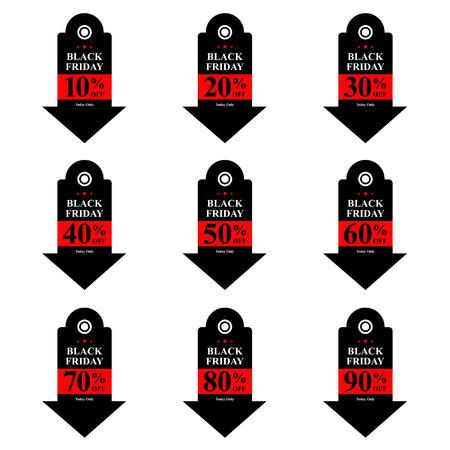 grand sale sticker: Black friday discount tag vector illustration.