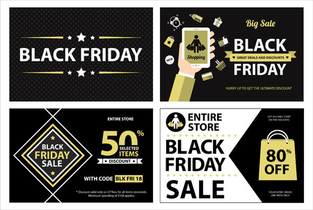grand sale sticker: Black friday banner Illustration