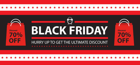 Sale and discount on black friday banner Illustration