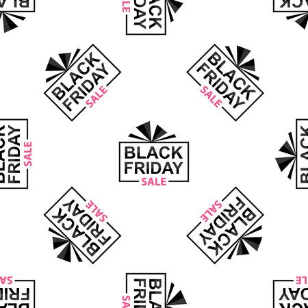 Black Friday seamless pattern on white background, vector illustration.  イラスト・ベクター素材