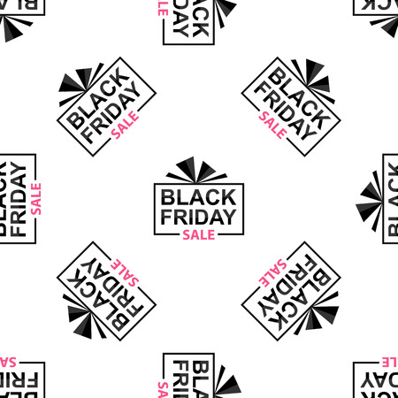 Black Friday seamless pattern on white background, vector illustration. Illustration