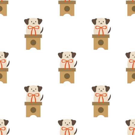 Chinese New Year seamless dog pattern. Celebrate year of the dog. Illustration