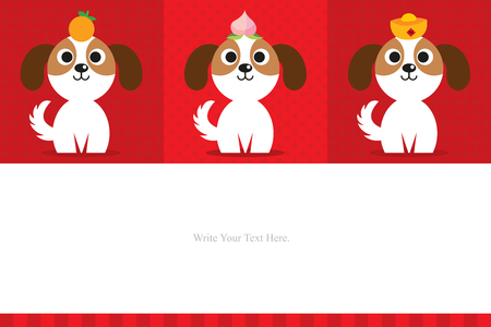 chinese new year template. celebrate year of the dog.  イラスト・ベクター素材