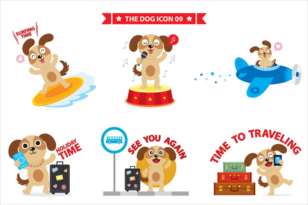 dog sticker apps dling different activities such as singing and surfing Illustration