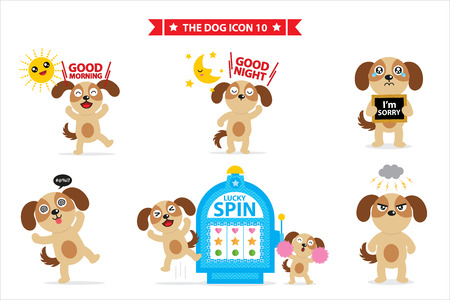 dog icon sets with various greetings