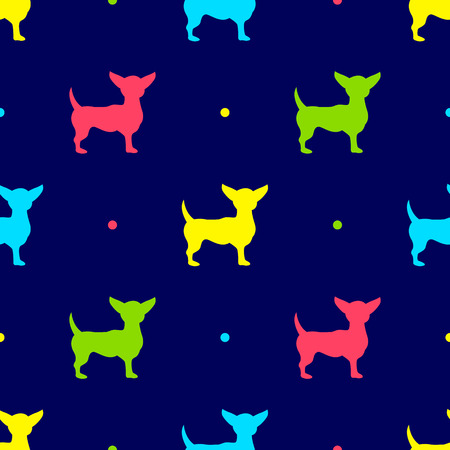 chihuahua seamless Vector illustration on blue background. Illustration