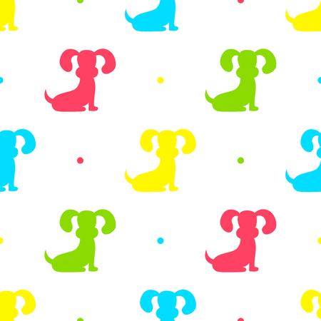 Dog seamless pattern illustration on white background.
