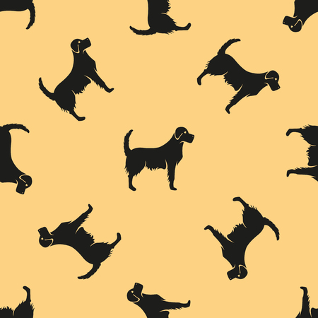 Golden retriever seamless pattern vector illustration.
