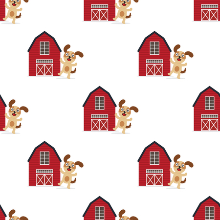 Dog and barn seamless pattern illustration on white background.