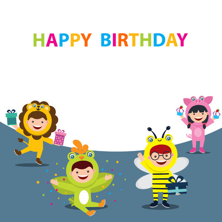 Happy Birthday Card With Kids In Animal Costume Royalty Free