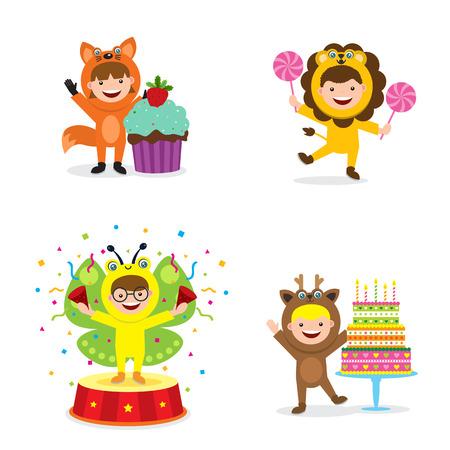 Kids in animal costume icon  イラスト・ベクター素材