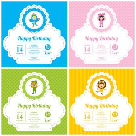 Birthday card with kids in animal costume 向量圖像