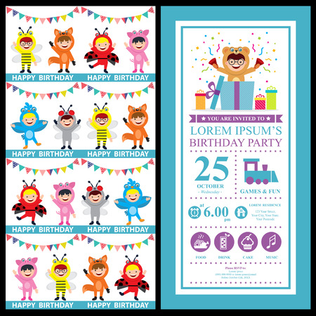 birthday card invitation with kids in animal costume Vectores
