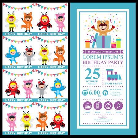 birthday card invitation with kids in animal costume Illustration