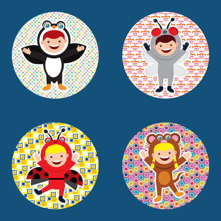 Collection set for birthday decoration with kids in animal costume on a circular design