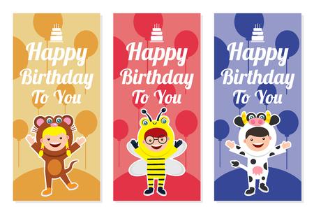 Birthday banner set with kids in animal costume Vettoriali