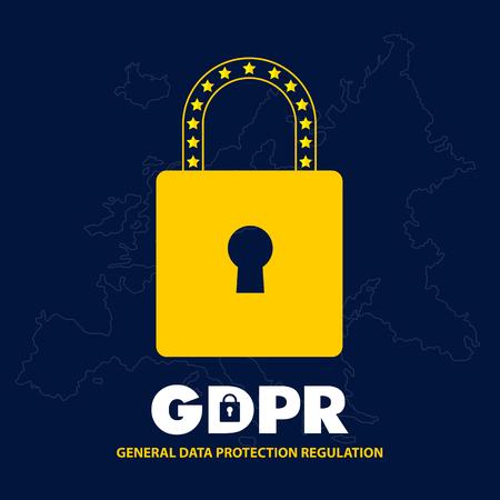 EU General Data Protection Regulation. eu gdpr vector illustration Ilustração