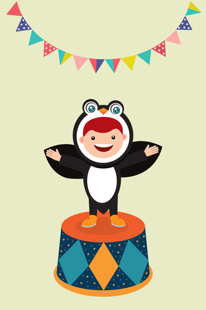 kids in pinguin costume illustration