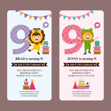 birthday card invitation with kids in animal costume Ilustração