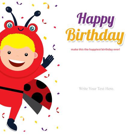 birthday card with kids in ladybug costume Illustration