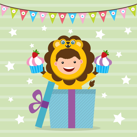 birthday card with kids in lion costume