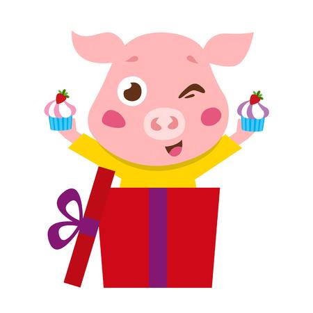 pink pig icon Illustration