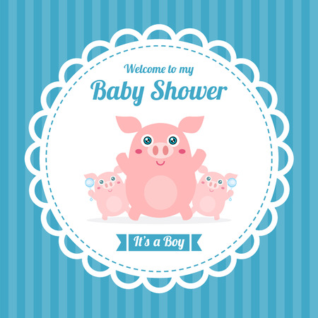 baby shower card with cute pig