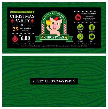 Christmas invitation card with santa pig Illustration