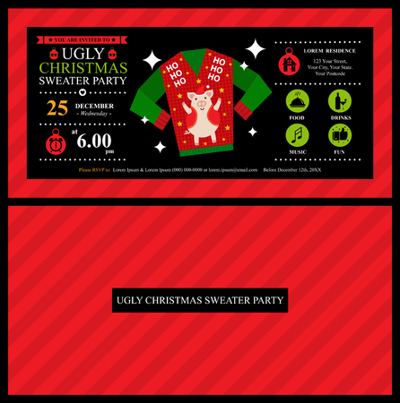 Christmas ugly sweater party card invitation