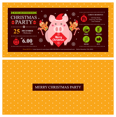 Christmas card invitation template with cute pig