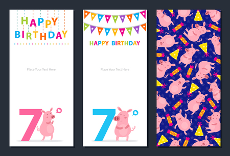Birthday card with cute pig Ilustrace