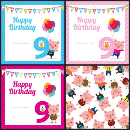 Birthday card with cute pig Ilustração Vetorial