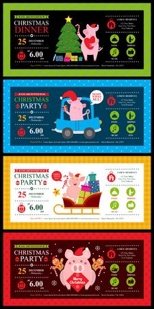 Christmas invitation template card