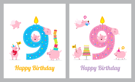 Birthday card with cute pig Vektoros illusztráció