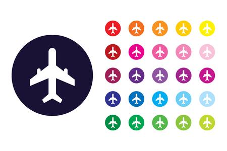 Aeroplane sign icon. Aeroplane color symbol. Vektorové ilustrace