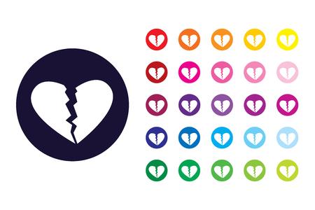 Broken heart sign icon. Broken heart color symbol. Illustration