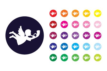 Angel sign icon. Angel color symbol. Vettoriali