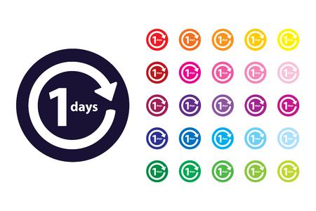 1 day return sign icon. 1 day return color symbol.