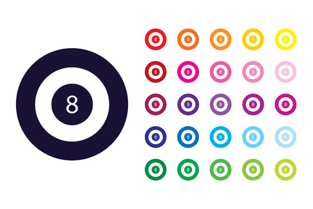 8 ball pool icon. 8 ball pool color symbol.