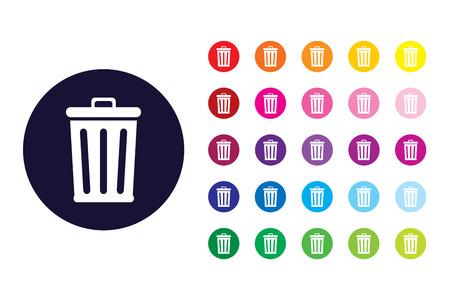 Trash bin sign icon. Trash bin color symbol. Illustration
